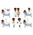 set of doctor characters and patients vector image vector image