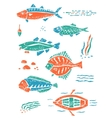 Set of fishes in naive lino style vector image
