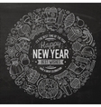 Set of New Year cartoon doodle objects round frame vector image vector image