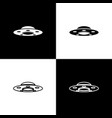 set ufo flying spaceship icons isolated on black vector image vector image