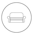 sofa icon black color in circle vector image