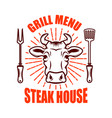 steak house bull head and crossed kitchen knives vector image vector image