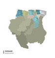 suriname higt detailed map with subdivisions vector image vector image