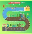 triathlon race infographic vector image vector image