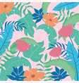 tropical leaves flowers pattern vivid foliage vector image