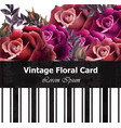 vintage realistic roses floral card beautiful vector image