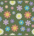 vintage stylized daisy flower seamless pattern on vector image