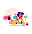 young woman checks mail with magnifier glass vector image vector image