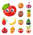 cartoon emotions fruit characters natural food vector image