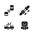 auto safety belt simple related icons vector image