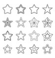 set flat black line star icons vector image
