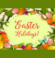 easter wreath of egg flower greeting card design vector image