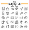 contact us line icon set web button signs vector image