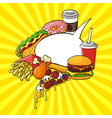 hand drawn pop art set of fast food with speech vector image