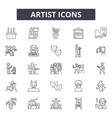 artist line icons signs set outline vector image vector image