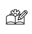book pencil gear architecture icon line style vector image