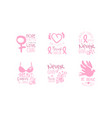 breast cancer pink logo templates design set hope vector image vector image