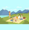 cartoon color characters people family relaxing vector image vector image