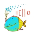 Cartoon Funny Fish Greeting Card Design Hand Drawn vector image vector image