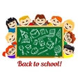 Children behind chalkboard with school supplies vector image