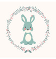 Cute baby bunny rabbit in Christmas flower vector image