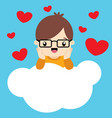 cute little boy with glasses on cloud valentine vector image vector image