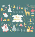 cute winter animals set vector image