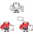 Devil Boss Holds Up A Contract vector image
