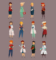 different female or woman jobs profession or work vector image