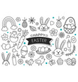 easter eggs hand drawn on white background happy vector image vector image