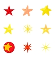 Five-pointed star icons set cartoon style vector image vector image