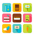 Flat Garden and Nature Squared App Icons Set vector image