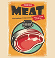 fresh meat promotional retro poster design vector image vector image