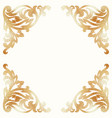 golden damask elements background with ornament vector image