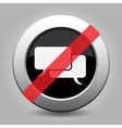 gray chrome button - no speech bubbles vector image vector image