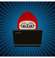 hacker with red cap computer man behind laptop vector image