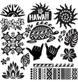 Hawaii Set in black and white vector image vector image