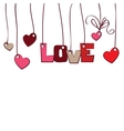 hearts and word love on white background vector image vector image