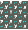 Hipster cat on gray seamless background vector image vector image