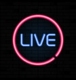 live neon sign stream design template light vector image vector image
