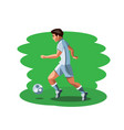 man footballer standing with ball vector image vector image