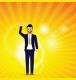man with his hand up vector image