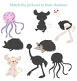 Match the pictures to their shadows child game vector image vector image