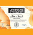 official orange certificate with blue orange vector image vector image