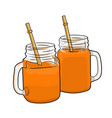 orange juice in glass cups on a white background vector image vector image