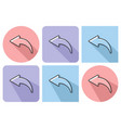 outlined icon of left curved arrow with parallel vector image vector image