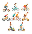 people riding bicycles set men and women on bikes vector image
