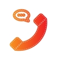 Phone with speech bubble sign Orange applique vector image
