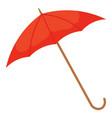 red umbrella with handle parasol icon closeup vector image