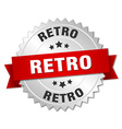 retro 3d silver badge with red ribbon vector image vector image